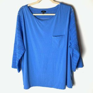Talbots Top Size 2X Blue Lace Detail 3/4 Sleeves